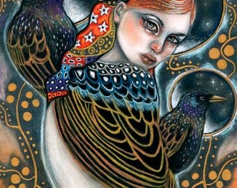 Starling birds woman Klimt inspired portrait 8x10 print of original soft pastel