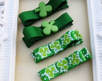 Mini Hair Clippies St Patrick Day Tuxedo Bow Hair Clip Set of Four