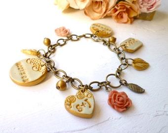 Family Charms Bracelet - Custom name Bracelet - Name charms bracelet - Personalized Jewelry for Mom