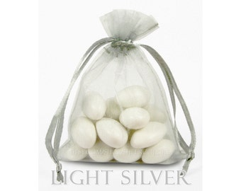 150 Light Silver - Gray Organza Bags, 3 x 4 Inch Sheer Fabric Favor Bags,  For Wedding Favors, Jewelry Pouches