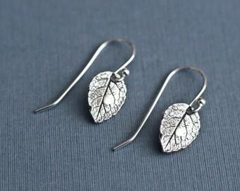 Leaf Earrings, Sterling Silver Rose Leaf Earrings, Tiny Rustic Botanical Leaf Earrings in Sterling Silver,  Dainty Modern Everyday Earrings