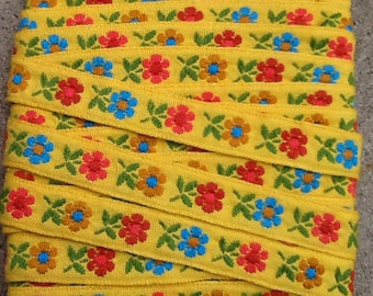Yellow Woven Floral Trim