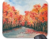 Mousepad - Autumn Journey Landscape Watercolor Painting - Art for Home or Office