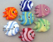 Striped angelfish beads, lampwork glass, qty 7