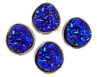 4 purple blue faux druzy slider beads, blue purple acrylic druzy and metal 2 hole beads
