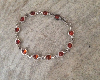 Simple Baltic Amber And Sterling Bracelet