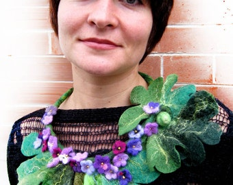 "A felt necklace ""Violets"""