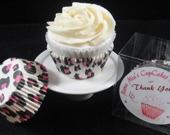 White, Black and Pink Leopard Cupcake Liners