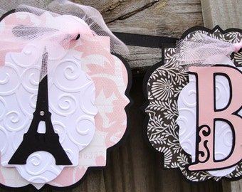 Pink Baby Banner with Eiffel Towers
