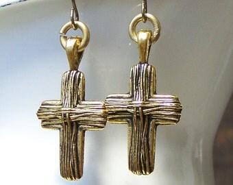Cross Earrings, Brass Colored Cross, Gold Tone Crosses, Christian Earrings, Etsy, Etsy Jewelry
