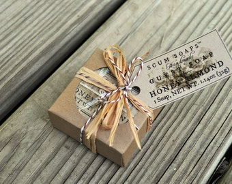 Honey Almond Guest Soap Gift - Burlap,  Shabby Chic, Holiday