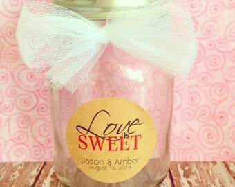 set of 20 love is sweet kraft stickers, kraft wedding stickers, custom love is sweet stickers, personalized wedding stickers