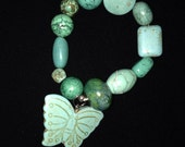 Chunky Turquoise butterfly beaded stretch bracelet