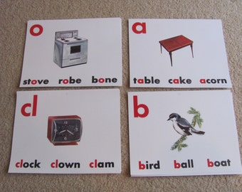 "Old School Flash Card Print - Vowels Consonants 8"" x 11"" clock - bird - stove - table"