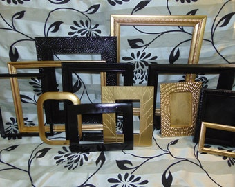 FRAME Collection, Black and Metallic Gold,13 Modern and Sleek Designs or Choose Colors