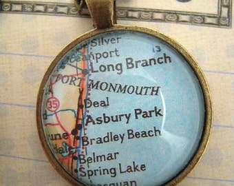 Monmouth beach etsy custom map jewelry asbury park bradley beach new jersey vintage map pendant necklace personalize negle Choice Image