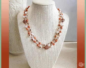 "17""- 18"" Necklace Brown White Millifiori Beads Fossil Beads Czech Crystal Copper AB Beads Chain 3-in-1 Necklace 2-Strand or Single Strand"