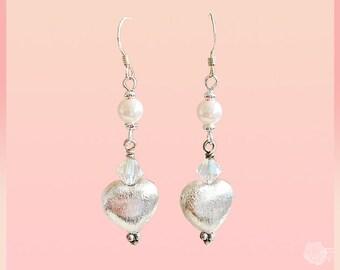 Hook Earrings Pink 6mm Swarovski Pearls 6mm Pink Opalite Swarovski Crystal Bicones Brushed Silver Puffed Hearts Sterling Silver Ear Wires