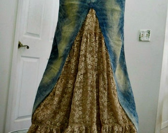 Mocha Crème vintage lace jean skirt coffee tan ruffle bohemian beach goddess mermaid Renaissance Denim Couture