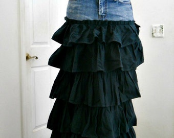 SALE Seven for All Mankind ruffled jean skirt Renaissance Denim Couture vintage boho green fairy goddess mermaid belle bohémienne
