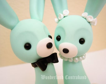 Mr. and Mrs. Bunny - Wedding Cake Topper - ORIGINAL OOAK Miniature Sculptures - Decor