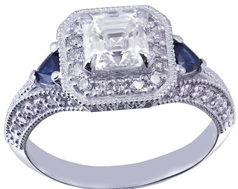 18k white gold asscher cut diamond and triangle sapphire engagement ring 1.50ctw