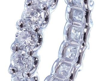 18k white gold round cut diamonds eternity band anniversary prong set 4.00ctw