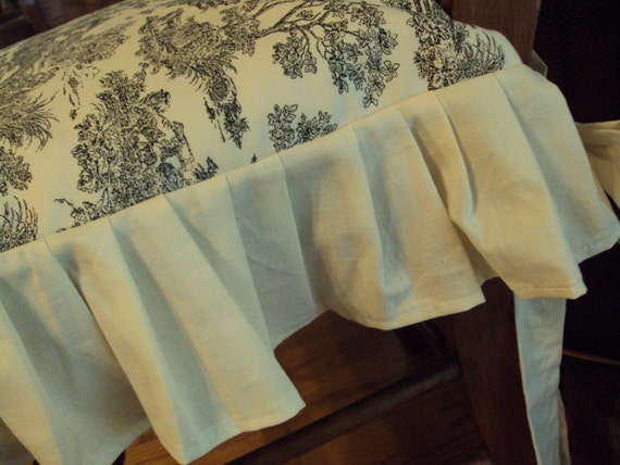 Chair Seat Cover Ruffled Edge With Bow Ties 18 X 18