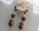 Purple Victorian Style Earrings, Filigree Earrings, Antique Style