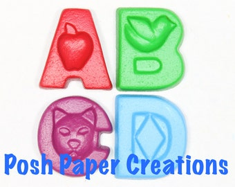 Fun letter crayons - four (4) - assorted colors