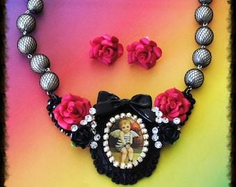 Prisoner of Love Bib Necklace and Earring Set Swarovski Crystal Embellished