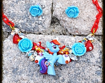 My Little Pony Dash Swarovski Crystal Bib Necklace and Earring Set