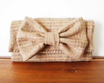Beige Plaid Wool Trifold Clutch Wallet with Large Bow