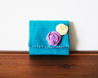 CLEARANCE-- Upcycled Teal Green Linen Cloth Business Card Holder with Rosettes
