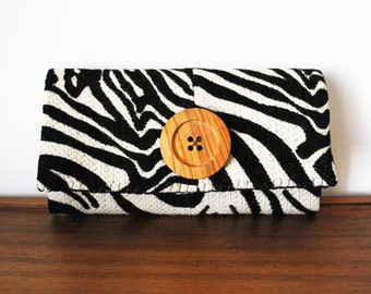 Zebra Print Trifold Clutch Wallet with Large Wooden Button