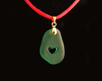 Jewelry Beach Glass Turquoise- Green Pendant with Carved HEART Special Romantic Spring Gift  Rare Sea glass