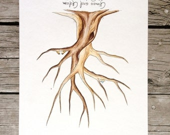 Entwined Trees Baby shower Guest Book Tree fingerprint tree hand painted custom