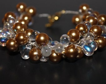Handcrafted Gold/Clear Glass Beads Bracelet