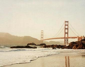 "Bakers Beach Photography, San Francisco, Brown Tan Beach Decor, Golden Gate Bridge, Bech Photography, Bay Area, California, ""Golden Sunset"""