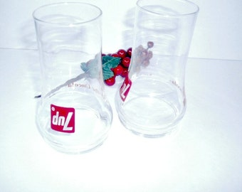Retro Seven Up the Uncola Glasses Vintage Collectible Advertising Glasses