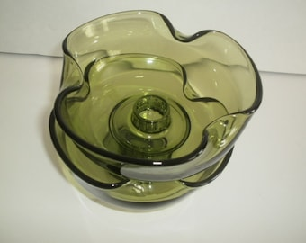 Vintage Avocado Green Glass Candle Holders