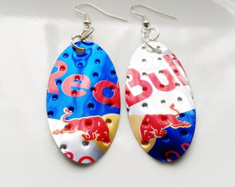 Red Bull Earrings Recycled Soda Can Jewelry Aluminum Can Trending Jewelry Absolute Jewelry Sale Jewelry