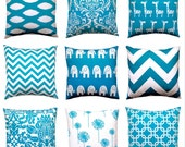 Pillow, Decorative Throw Pillow Covers, Accent Pillows, Cushion Covers 22 x 22 Inches Turquoise Teal Nursery Decor