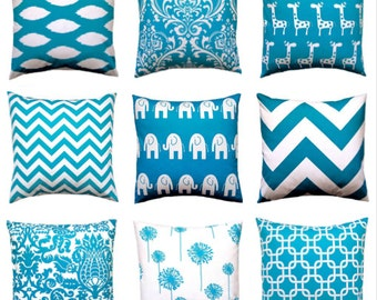 Pillow, Decorative Throw Pillow Covers, Accent Pillows, Cushion Covers 20 x 20 Inches Turquoise Teal Nursery Decor