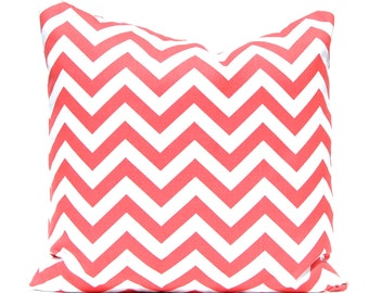 Chevron Pillows Decorative Throw Pillow Covers Cushion Covers Chevron Coral on White 18 x 18 Inches