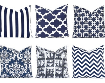 Navy Blue Pillow, Throw Pillow Cover, Decorative Pillow Cover, Navy Blue and White,  One Blue Pillow Cover, Nautical Decor, Beach Decor
