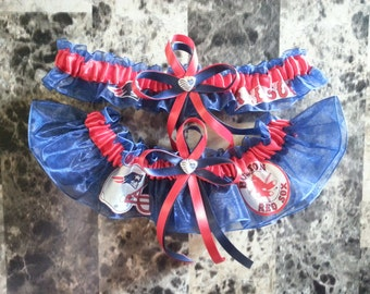 New Wedding Garter Set of NFL Patriots and MLB Red Sox, navy blue & red, any size.