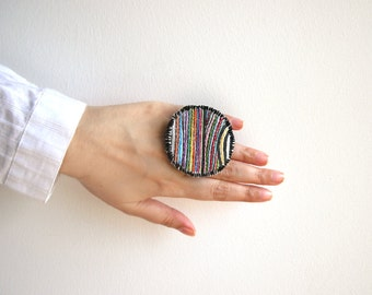 Embroidered ring, statement ring, large fabric ring, rainbow colorful adjustable jewelry, embroidered jewelry, fabric jewelry, one of a kind