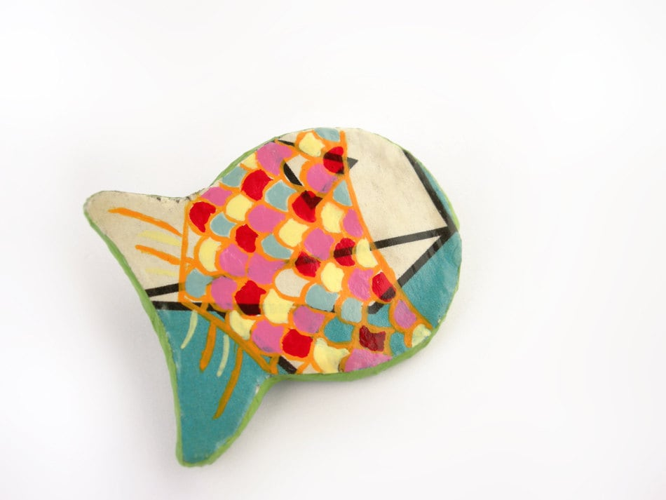 Fish brooch animal brooch paper mache eco friendly jewelry for How to make paper mache jewelry