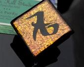 Dichroic fused glass pendant or badge reel - Love